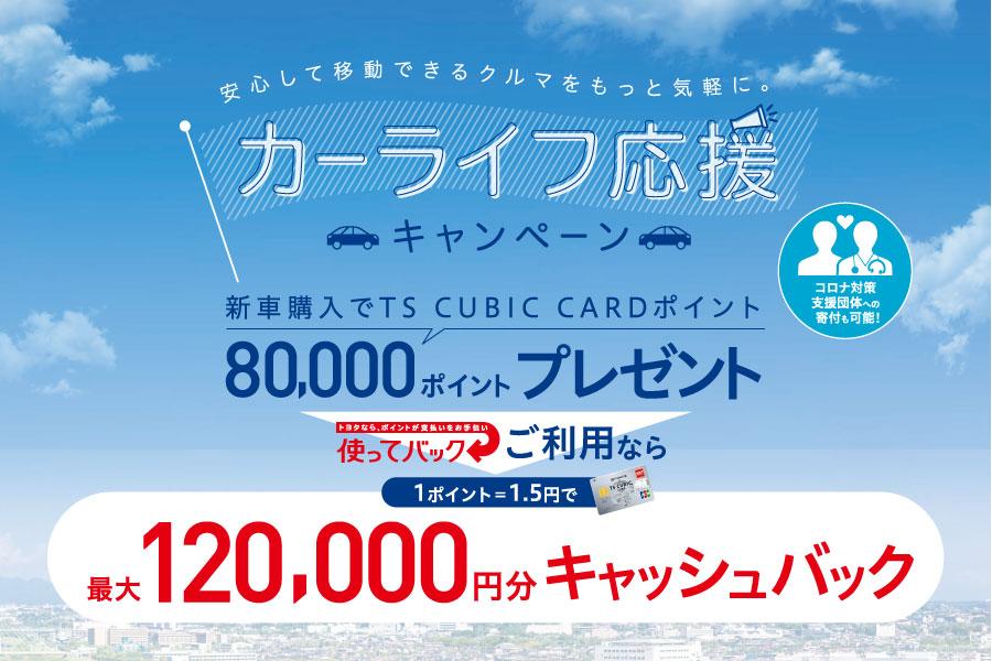 新車カーライフ応援CP                                            2020年6月12日~9月30日に条件を満たし新車をご成約いただいた方にもれなくTSポイント8万ポイントをプレゼント♪ 詳しくはクリック